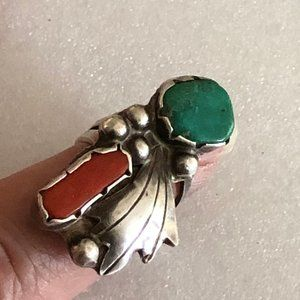 Silver Southwestern Turquoise & Coral Ring